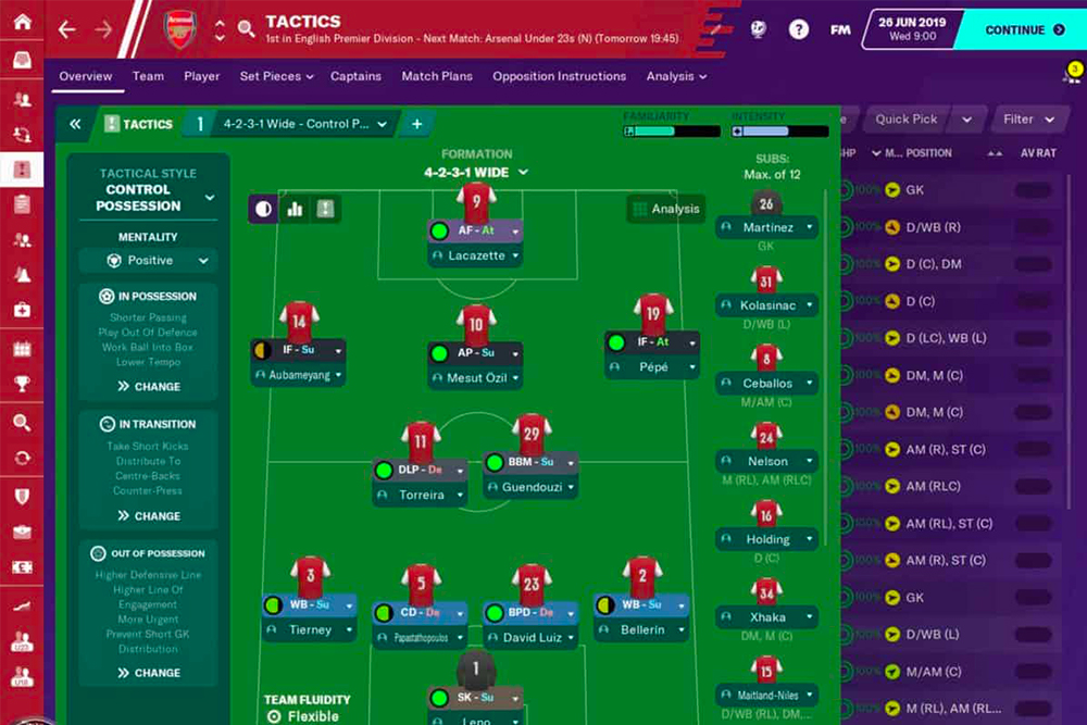equipe de foot gestion